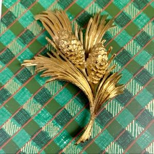 Monet Vintage Pinecone Branch Brooch